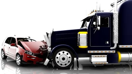 Red car getting hit by black truck during a trucking accident.